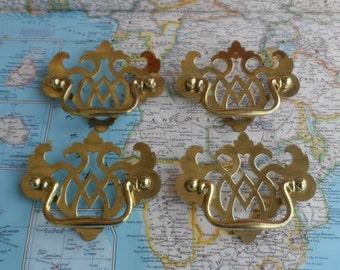 SALE! 4 vintage fancy open design metal handles with brass pulls