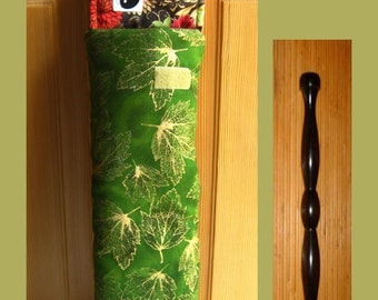 Tai Chi Ruler Cozy- Chartreuse Sparkle Leaf, Golden Maple Leaves Ruler Cozy, Tai Chi Wand Protector, Green Golden Maple Leaves TaiChi Cozy