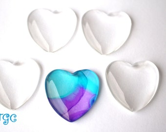 20 Clear Glass Tiles Hearts Cabochons Domes 25mm  Cabs Shaped 1 inch Love Valentines Day Art Crafts Jewelry Making