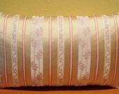 Vervain Sage and Cream Silk Stripe Liserie Lumbar Pillow