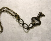 Vintage Key Necklace, Twisted Chain Key Necklace, Vintage Key, Men's Necklace, Upcycled Key, Upcycled Jewelry, Repurposed, Rustic Key