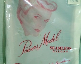 Vintage Powers Model Seamless Micromesh Nylon Stockings Size 9 New in Package
