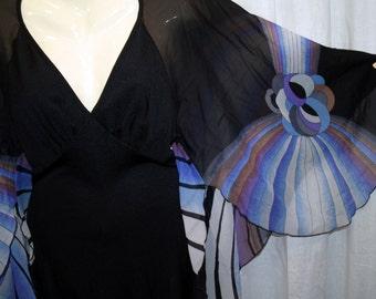 Black slinky Dress with Bat Wing Sleeves