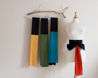 made to order color block cotton obi you choose the color