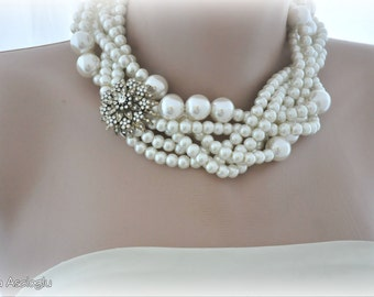 bridal choker statement necklace Glass Pearl Necklace with matching earrings brides bridesmaids
