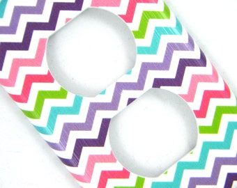 Chevron Outlet Cover -- Pink, Purple, Blue, Green Rainbow