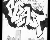 "REACT ""Downtown Money Waster""- Pen and Ink Graffiti Drawing Boston Skyline"