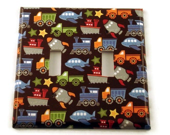 Double Light Switch Cover  Wall Decor Switchplate  Switch Plate in  Trains Trucks and Planes (096D)