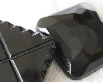 2 ANTIQUE Square Black Glass BUTTONS