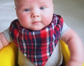 Bandana Baby Boy Bib Blue and Red Plaid // Bandana Toddler Bib // Hipster Baby