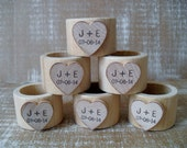 Wood Napkin Rings with Personalized Heart for Wedding - Set of 10 - Item 1575
