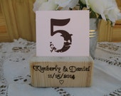 Personalized Rustic Wood Table Number Holder - Place Card Holder  - Item 1591