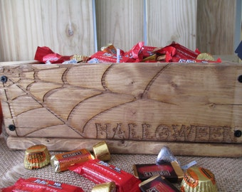 Rustic Barnwood Style Halloween Spider Web Box for Candy, Cards, Favors, or Decorations  - Item 1608