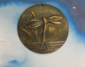 Hand Oxidized Patina Brass Dragonfly Medallion Stampings 2233HOX x2