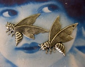 Silver Ox Plated Bee Stampings 744SOX  x2