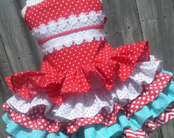 Made to Order Custom Boutique Aqua Red Hearts Dots Girl Dress 2 3 4 5 6 7 8