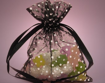 10 Pack Sheer Organza Drawstring Bags  2.75 X 4 Inch Size Great For Gifts polka dot style