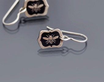 Tiny Framed Honey Bee Earrings- Etched Sterling Silver Dangles - Hand Drawn Nature Jewelry