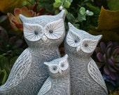 Owl Statues - 3 Owl Family Garden Decor - Concrete Outdoor Sculpture