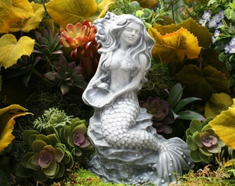 Mermaid Statues - Outdoor Sculpture - Garden Mermaid Art in Solid Concrete