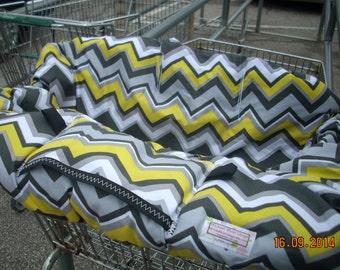 Shopping Cart cover for boy or girl.....Citron Chevron by Michael Miller