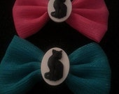 Cat, Cat cameo, Retro cat,retro kitty, kitty, cat bow, ready to ship, gifts for her, cat barette,bow, cat bow,crazy cat lady