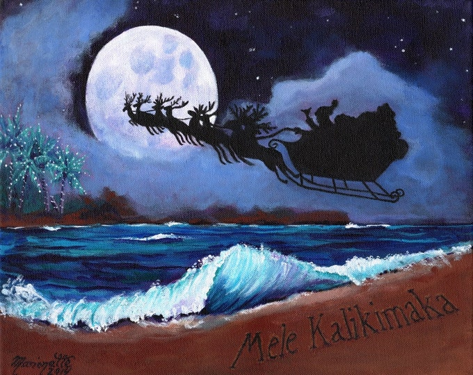 Mele Kalikimaka from the Beach 8x10 print with Hawaiian Santa from Kauai Hawaii Christmas full moon ocean