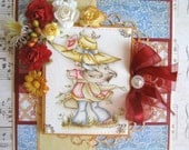 OOAK September Rose Hand Made Greeting Card