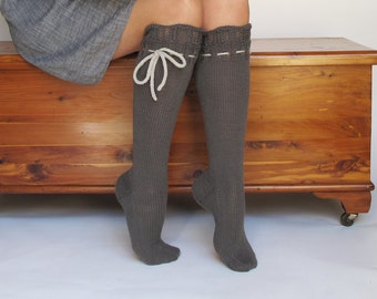 Knee High Socks Slate Grey Lace Merino Cashmere Wool