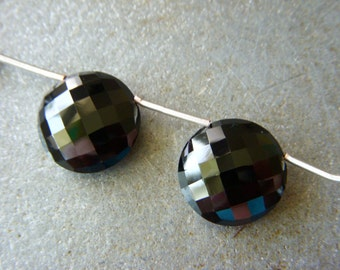 X-Large Black Spinel Faceted Coins - Pair - 16mm