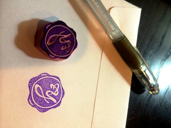 Personalized rubber stamp with your letter  -- hand carved