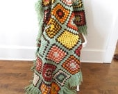 Vintage Afghan Blanket Granny Square Autumn Fall