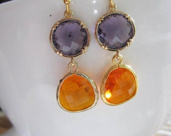 Purple Earrings, Orange Teardrop, Gold Earrings, Bohemian, Bridesmaid Jewelry, Two Stone Dangle Earrings, Gardendiva