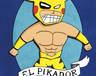 El Pikador Lucha Libre Wrestler Art Print Illustration Pikachu