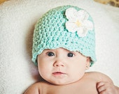 Newborn Baby Girl Hat Newborn Hat Girl Aqua Blue Baby Girl Clothes Baby Shower Gift Baby Girl Present Crochet Flower Hat Flapper Beanie Cap