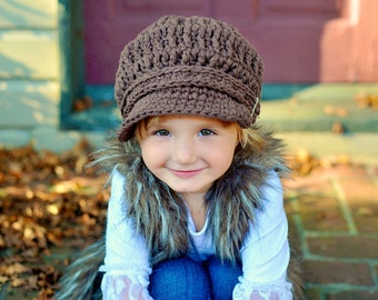 5 Sizes Chocolate Brown Newsboy Baby Newsboy Hat Toddler Newsboy Cap Girls Newsboy Boys Newsboy Womens Newsboy Crochet Newsboy Knit Buckle