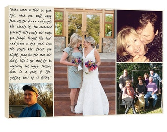 Gift for Mother or Father of the Bride Personalized Collage, Daughter, Sisters, Siblings, with Their Photo and Your Words 10x14