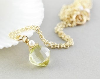 Yellow Pendant Necklace, Brazilian Gold Quartz Necklace, Pearl Necklace, Handmade