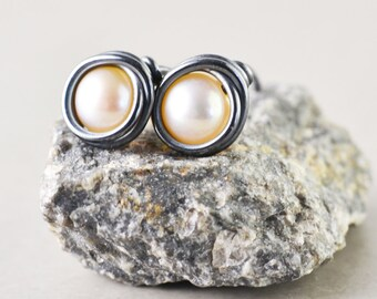 Pearl Studs, Peach Posts, June Birthstone, Oxidized Sterling