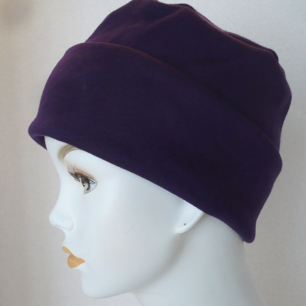 blackberry purple rolled cuffed cool weather cancer chemo hat