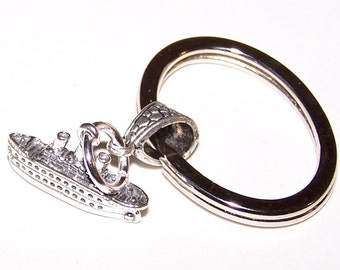 Sterling Silver 3D CRUISE SHIP Key Ring - Key Chain - Key Holder - Boating, Vacation