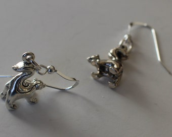 Sterling Silver 3D SKUNK Earrings - Wildlife, Pet, Animal, Totem