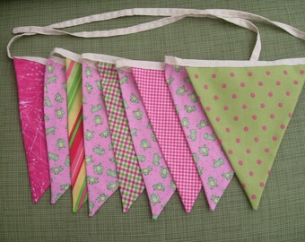 Pink with green frogs fabric flag banner teacher classroom nursery party outdoor bunting