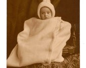 Antique Photograph  Baby with Cone Shaped Hat Wrapped Securely in Their Blanket
