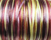 Falling Leaves Variegated Satin Rattail Cord 1mm 6 yards for Macrame Kumihimo Knotting