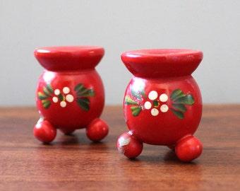 Scandinavian folk art vintage candle holders, made in Sweden.
