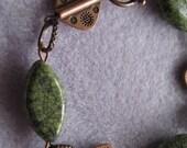 Serpentine and Copper Bracelet, Copper Bracelet, Green Bracelet, Antique Copper Jewelry