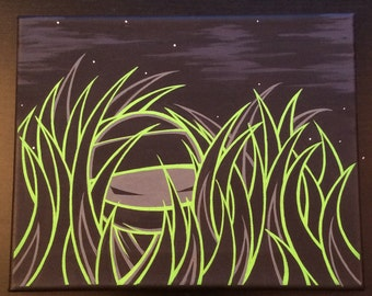 "Original Ninja painting by Kokeshi Clan. Acrylic on canvas 8""x10"" Grassroots series 2 of 4"