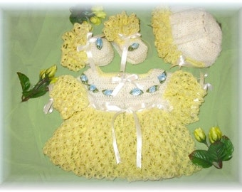 Crochet Pattern for Baby Sweater Set---Jasmine Sweater, Bonnet and Booties