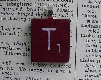 """Mahogany Vintage Scrabble Tile Pendant - """"T"""" - Choose your letter - Eclectic Jewelry - Steampunk Chic - Upcycled"""